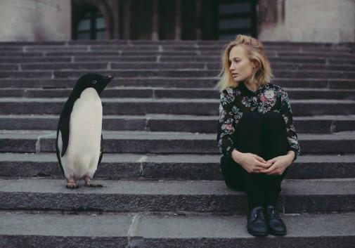 pingouin-froid-blonde-femme-escalier